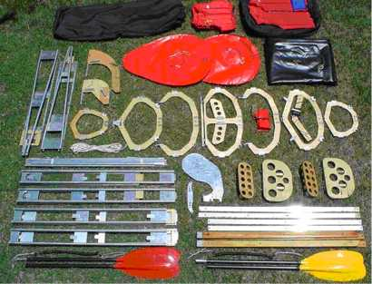 Components of folding kayak