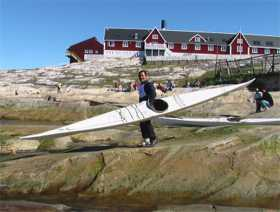 Skin-on-frame kayak in Greenland