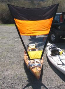 Sea kayak with home made downwind sail