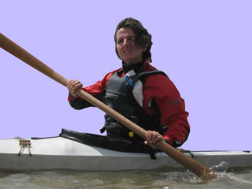 Orshi with Greenland paddle