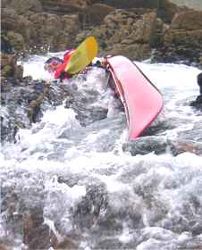 Sea kayak capsize in gully