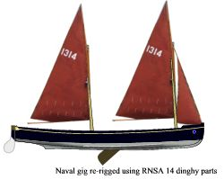 30' naval gig rerigged with RNSA 14 dinghy components