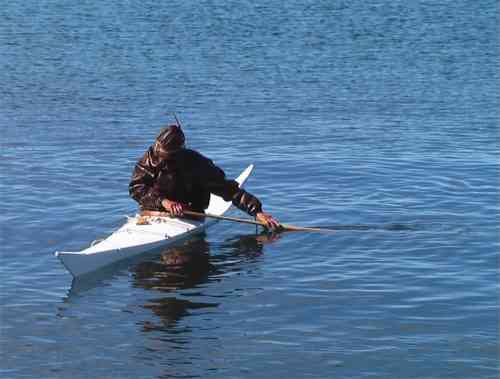 Greenlandic kayaker practicing technique
