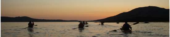 Kayak group at dusk