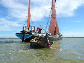 Thames sailing barge and tender