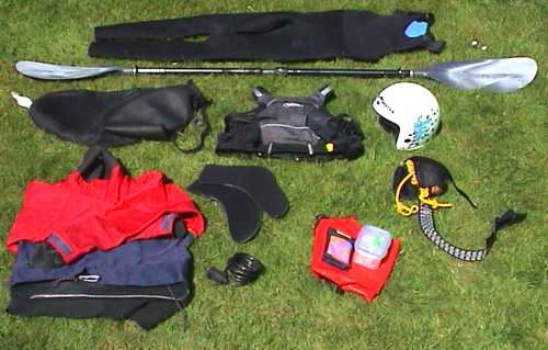 Pile of kayaking kit